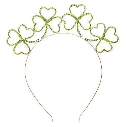Rosemarie & Jubalee Women's St. Patrick's Day Lucky Irish Shamrock Clover Green Crystal Tiara Crown Headband