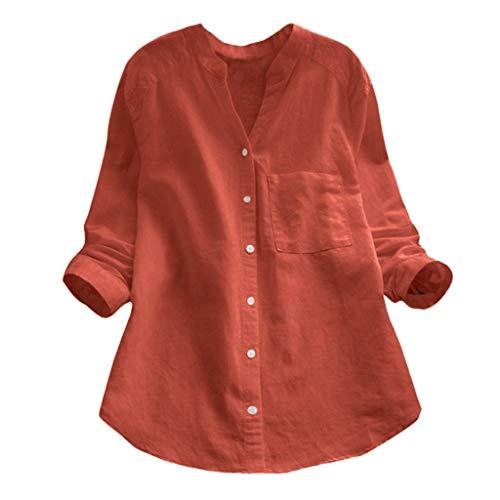 VJGOAL Chemise Femmes Coton Lin Manches Longues Blouse Casual Travail Quotidien Tops Étudiant Mode Bouton Hauts T-Shirt Simple Sauvage Jaune Vert Noir Slim Fit S-2XL
