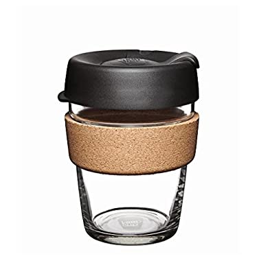 KeepCup 12oz Reusable Coffee Cup. Toughened Glass Cup & Natural Cork Band. 12-Ounce/Medium, Espresso