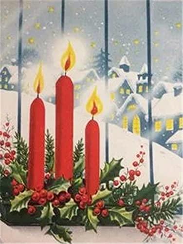 Pittura diamante Candele natalizie Kit regalo Diamante Ricamo Paesaggio Mosaico Immagine di strass Decorazione domestica A3 60x80cm