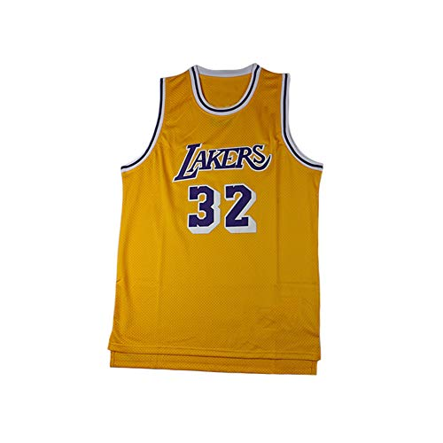 LCHENX-Maglie da Uomo retrò Basketball NBA Lakers # 32 Magic Johnson Basketball Uniform T-Shirt Classica Traspirante,Giallo,S