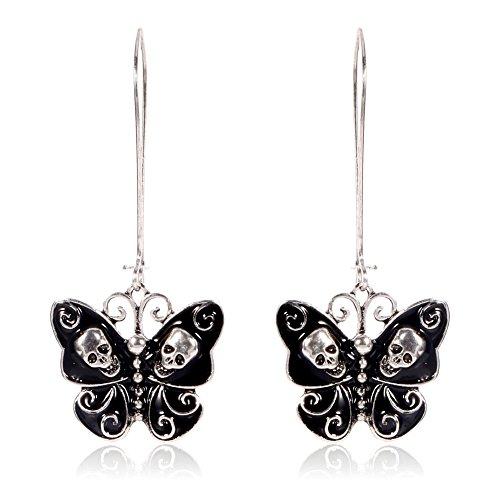 Black and Silver Skull and Swirl Butterfly Long-Hook Drop Earrings [2' Hooks]