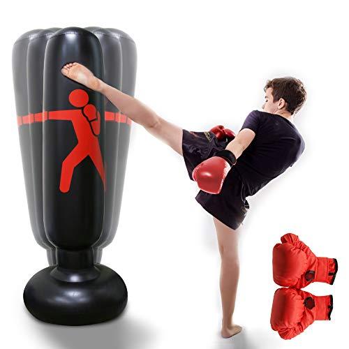 HANDSONIC Inflatable Boxing Punching Bag, Fitness Punching Bag for Kids/Adult, Vertical Boxing Column Tumbler Sandbags Practice Karate Training Taekwondo Equipment -with Boxing Gloves(63