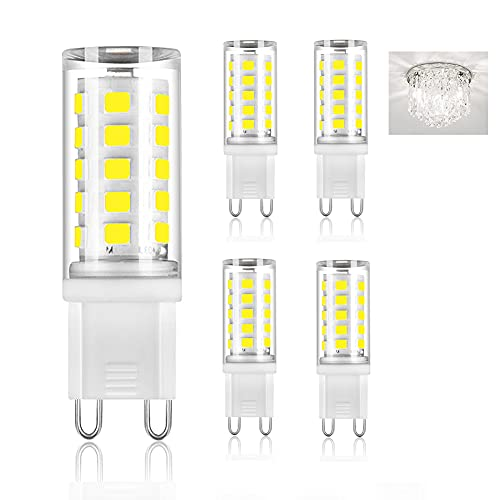 OHLGT G9 LED Bulbs, 5W (40W Halogen Equivalent), Daylight White 6000K G9 Base Bulbs for Chandeliers, 400LM Non-Dimmable for Home Lighting, 5 Pack