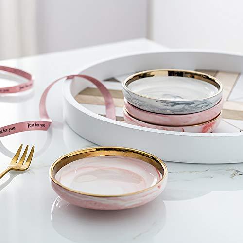 セラミックジュエリーディッシュジュエリートレイ 醤油皿 北欧 スモールジュエリープレート イヤリング ネックレス リング フルーツデザートディスプレイ ボウルデコレーションセット - ピンク&グレー 2個
