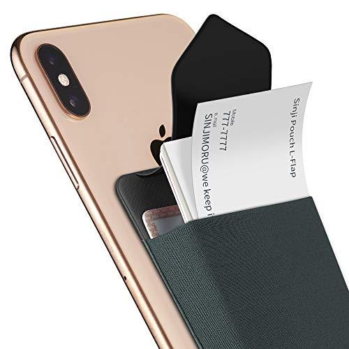 Sinjimoru Smartphone Kartenetui, Handy Kartenfach im größeren Format, Wiederverwendbarer Kartenhalter für Kreditkarten & Bargeld mit Verschluss, Sinji Pouch L-Flap, grau