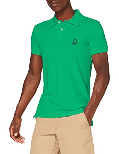 United Colors of Benetton Polo Slim Manica Corta, Verde (Bright Green 108), X-Large para Hombre