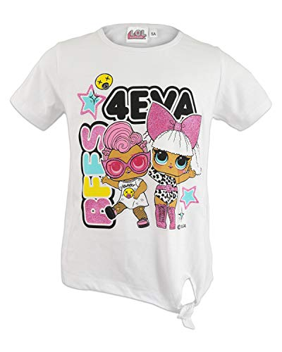 Characters Cartoons LOL Surprise - T-Shirt Maglietta Maglia a Maniche Corte - Bambina - Prodotto Originale con Licenza Ufficiale [1307 Bianco - 9 A - 134 cm]