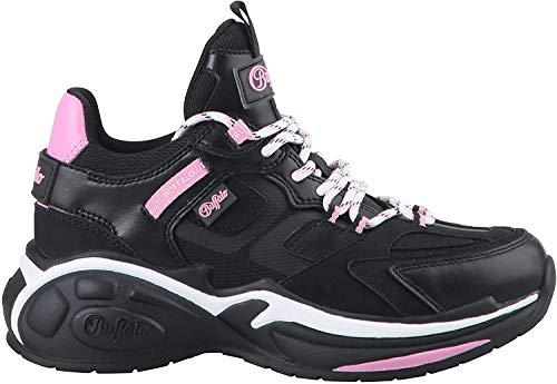 Buffalo Damen Sneaker B.NCE S2, Frauen Low-Top Sneaker, Freizeit Halbschuh strassenschuh schnürer schnürschuh sportschuh,Black/PINK,39 EU / 6 UK
