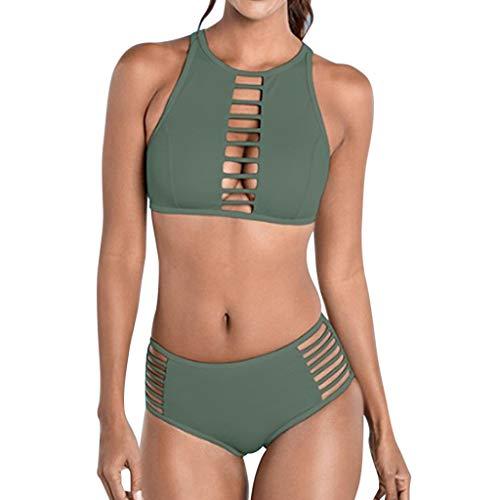 ❤Loveso❤ Fashion Damen Bademode Push Up Bikini Set Zweiteilige Badeanzug Strandkleidung Neckholder Oberteil Bandeau Strandmode Sport Split Blumen Bikinihose