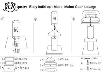RHRQuality Arbre a Chat XXL geant Maine Coon Lounge Beige griffoir Arbres pour Grand Gros Chats Solide à Grande Taille Original Design Moderne de Adulte