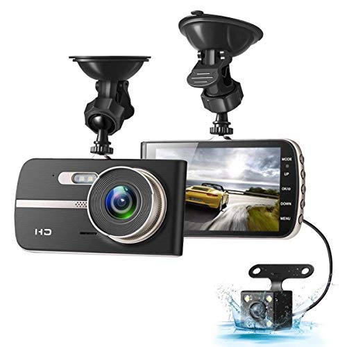 EIVOTOR Dash Cam, 1080P HD Dual Channel Dashboard Cameras Front and Rear, Driving Video Recorder with 4.0'' IPS Screen, Built In G-Sensor, Motion Detection, Loop Recorder