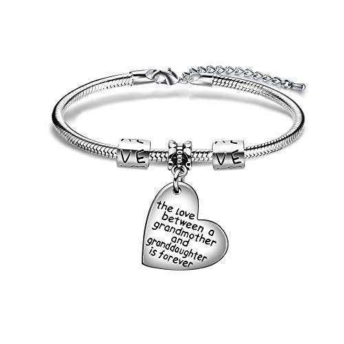 The Love Between A Grandmother And Granddaughter Is Forever Heart Shape Pendant Snake Bracele Bangle For Family Gifts