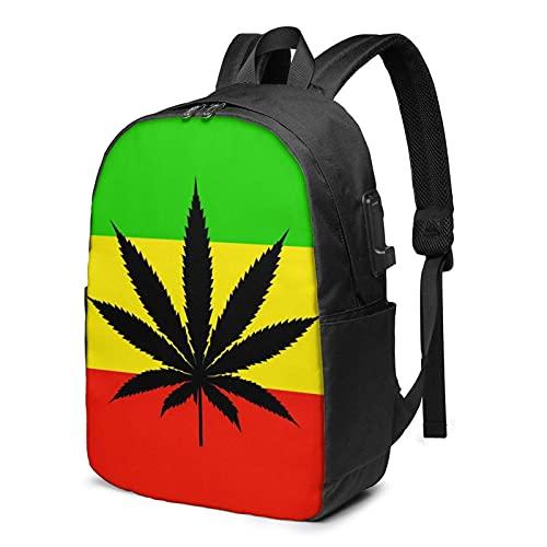 XCNGG Mochila para portátil de Viaje con Bandera de Jamaica, Mochila con Puerto de Carga USB, para Hombres y Mujeres, se Adapta a 17 Pulgadas