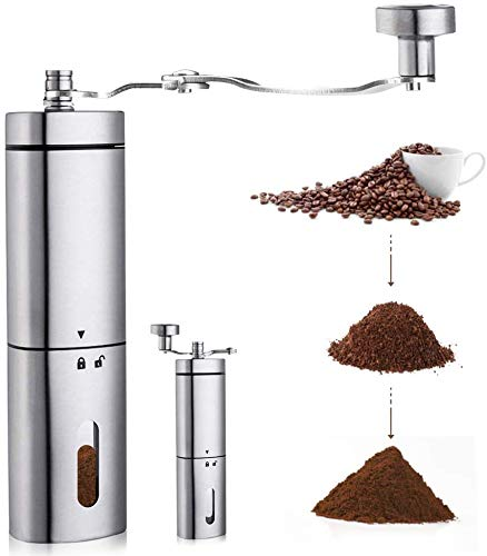 AVNICUD manuelle Kaffeemühle, Handkaffeemühle mit Verstellbarer konischer Keramik, dreieckiges Edelstahlwerk mit faltbarem Griff