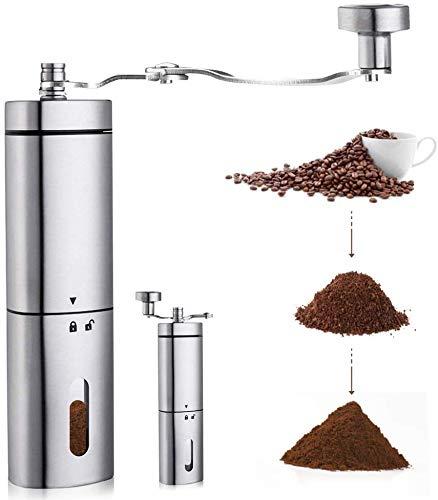 AVNICUD manuelle Kaffeemühle, Handkaffeemühle mit Verstellbarer konischer Keramikkante, dreieckiges Edelstahlwerk mit faltbarem Griff