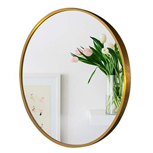 YF-Mirror Espejo de Pared Redondo Grande - Espejo de Pared de Bronce Dorado Cepillado Espejo con Marco de Metal Dormitorio Decorativo Baño Sala de Estar Pasillo 80cm