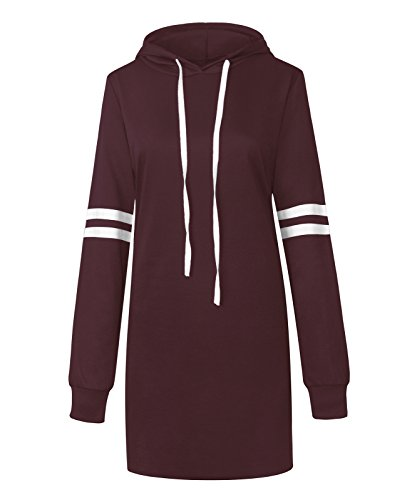 Flying Rabbit Damen Langarm Sweatshirt Damen Hoodie Kapuzenpulli Damen Langarm Kapuzenpullover Oversize Sport Casual Hoodie Mini - Kleid Herbst Sweatshirts , Farbe Rotwein , Gr.S