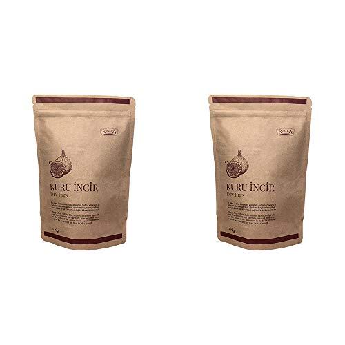 RAVLA 2x Gedroogde vijgen tussendoortje voor volwassenen Kinderen Iedereen Goede bron van essentiële voedingsstoffen Veganistisch tussendoortje Vezelrijk conserveermiddelvrij (35 oz / 1 kg)