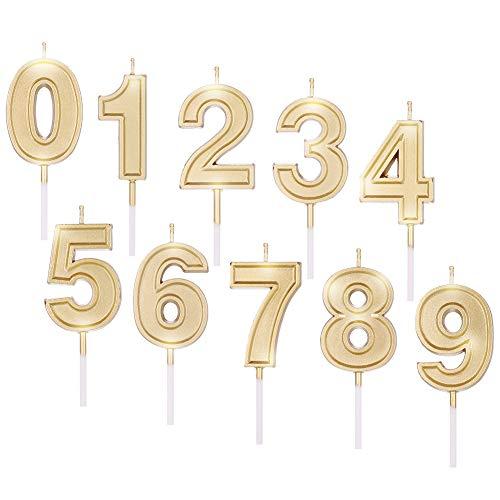 faddy-1 - Velas con número 0 – 9, 10 unidades de cumpleaños con purpurina dorada para cumpleaños, bodas, ceremonias de entrega de diiplómas, fiesta dorada