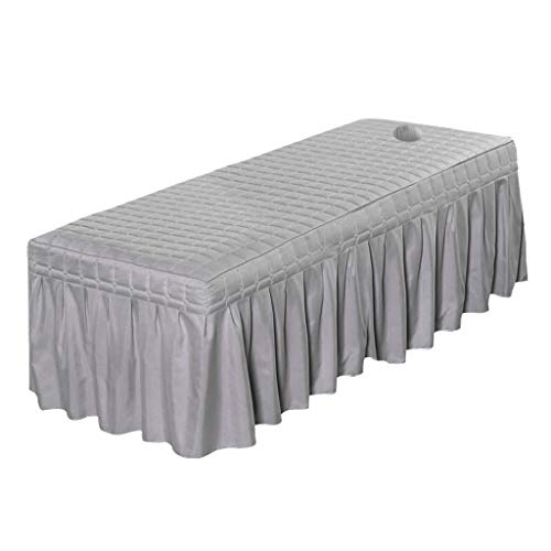 Cosmetic Linen Massage Table Skirt Beauty Bed Sheet Cover With Bedskirt - Gray-185x70cm