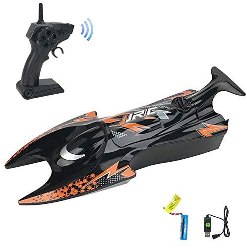 RCスピードボート ラジコンボート 新バージョン 防水強化 高速 耐衝撃 水のおもちゃ 子供贈り物 (黒)