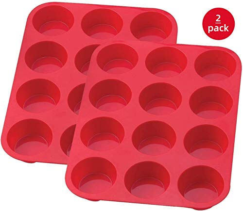 FRSWAY Silikon Muffinform,Muffinblech aus Silikon für 12 Muffins Cupcakes Pudding Brownies, Silikon Cupcake BackPfannen/Antihaftbeschichtet/GeschirrSpüler-MikroWelle Sicher(2Pack)