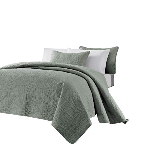 Chezmoi Collection Austin 3-Piece Oversized Bedspread Coverlet Set (Queen, Sage)