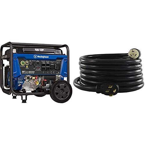 Westinghouse WGen9500 Heavy Duty Portable Generator - 9500 Rated Watts & 12500 Peak Watts - Gas Powered - Electric Start & Conntek 1450SS2-15 50 Amp Temp Power Generator Cord, 15 Feet, Black