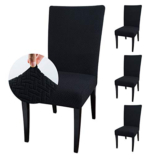 Qishare - Paquete de 4 Fundas para sillas de Comedor, Fundas para sillas de Comedor, Hotel, Ceremonia, Boda(Negro)