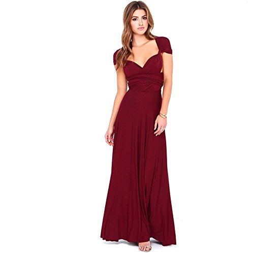 Infinity Kleid inklusive Bandeau Top Brautjungfernkleid Gr. 34-48 viele Farben Wickelkleid lang, 70 Verschiedene Wickelarten Brautkleid, Abendkleid Kleid lang Maxikleid (Dunkelrot, 2 (42-48))