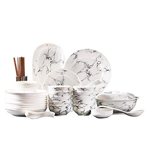 44 Ustensiles De Table En Céramique, Vaisselle En Porcelaine, Service Quotidien à La Maison Ou à L'hôtel, Rond En Marbre