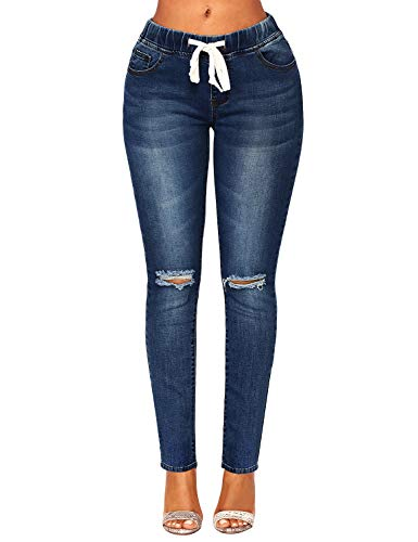ACKKIA Women's Elastic Waist Skinny Stretch Ripped Distressed Slim Denim Jeans Pants Dark Blue, Size M