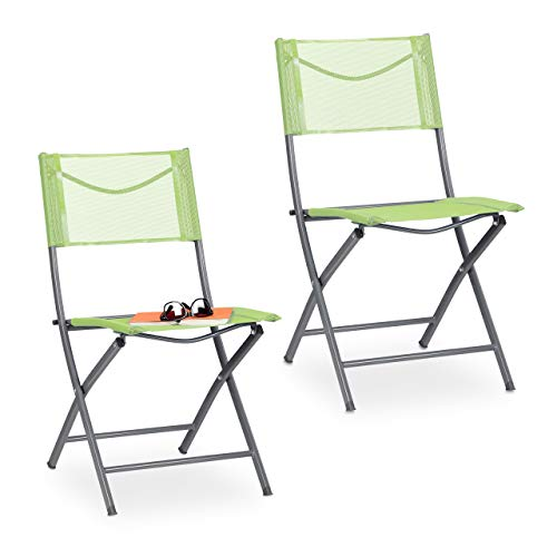 Relaxdays Gartenstuhl 2er Set, Klappstuhl für Garten, Balkon, Terrasse, Metall Campingstuhl bis 120 kg, wetterfest, grün