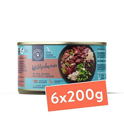 Nassfutter für Hunde | Wildschwein mit Reis, Sellerie, Rote Bete und Oregano für Hunde | 1,2 kg - 6er-Pack