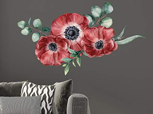 GRAZDesign Wandtattoo Mohnblumen Blumen rot - dunkelrot, Wohnzimmer Schlafzimmer Wanddeko / 100x57cm