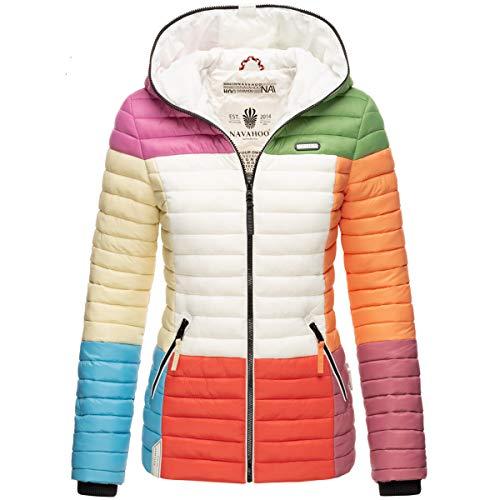 Navahoo Damen Jacke Steppjacke Übergangsjacke gesteppt Colour Blocking B841 [B841-Multikulti-Mix-Gr.S]