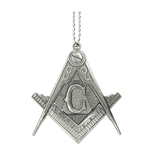 Square & Compass Masonic Knife Pendant - [Antique Silver]