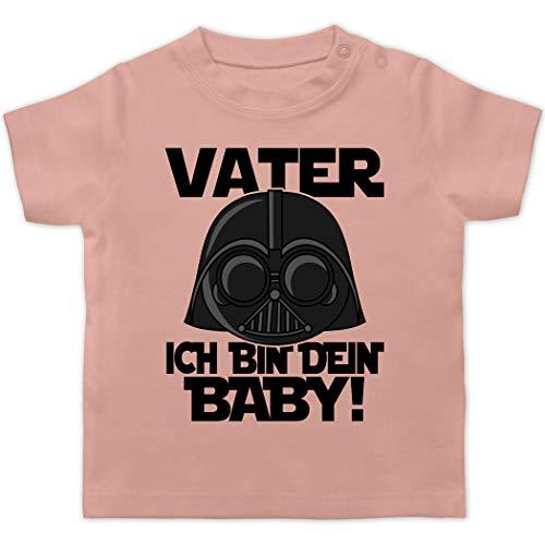 Vatertagsgeschenk Papa Tochter & Sohn Baby - Vater ich Bin Dein Baby - schwarz - 1/3 Monate - Babyrosa - Nerd - BZ02 - Baby T-Shirt Kurzarm