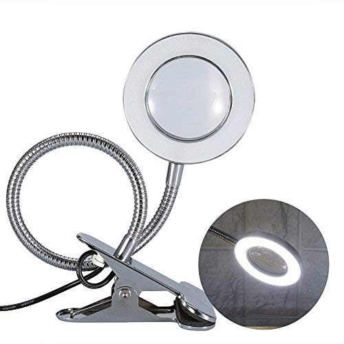LED USB Tattoo Schönheit Lupenlampe, 2,5X Kaltlicht Lupenleuchte Metall Schlauchklemme Swing Arm Schreibtisch Leuchte Tattoo Lampe für Kosmetik- Massage und Tattoo Studio