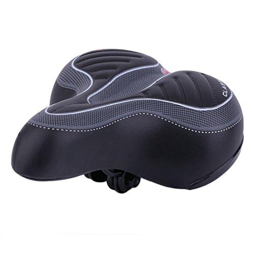 YUJISO Black Bike Seat - Bicycle Saddle Seat, Comfortable Wide Big Bum Bike Saddle Waterproof Protection Extra Sporty Soft Pad Saddle Seat for Most of Bike