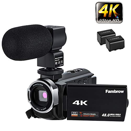 FamBrow 4K Video Camera Camcorder Ultra HD WiFi YouTube Vlogging Camera 48MP 3.0 Inches IPS Touch...