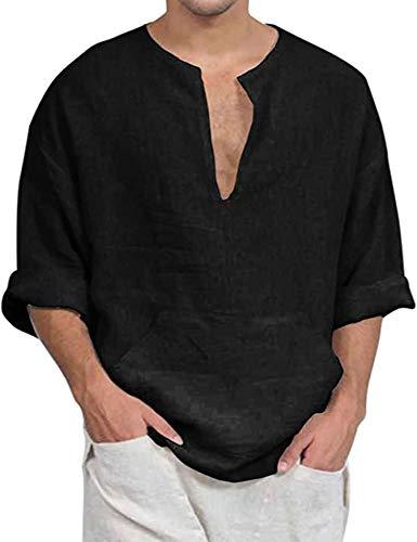 COOFANDY Herren Hemd Kurzarm Leinenhemd aus Baumwollmischung Kariert Sommer Freizeit Men織s Shirt Schwarz XXL