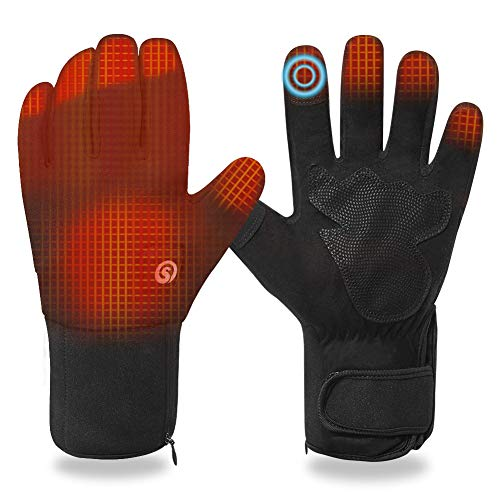 Heated Gloves for Men Women, Electric Rechargeable Battery Warm Thermal Snow Gloves Touch Screen Heating Control Hand Warmer Arthritis for Winter Cycling Hiking Ski Snowboard Outdoor Working (L)