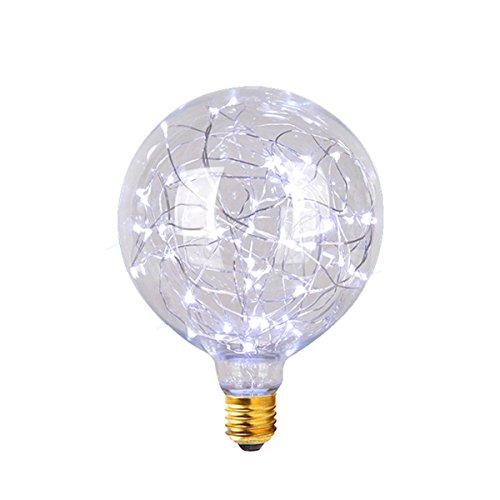 Lampadina Vintage,KINGCOO G95 E27 3W Globe Edison Lampada Lampadine LED Luce Stella Lampadine a Incandescenza per Bambini Atmosfera,per Interni e Lampadine a Risparmio Energetico per Casa (Bianca)