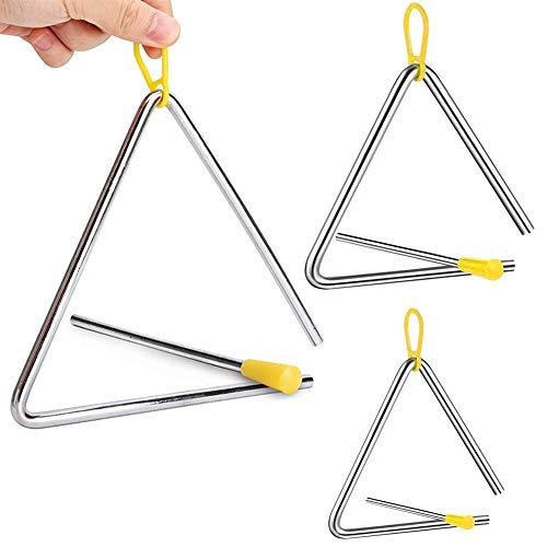 3 Stück Musikalisches Dreieck, Triangel Musikinstrument, Triangel für Kinder, Kinder Instrument für Percussion, 4/5/6Zoll Musikalische Kinderdreiecke für Kinder, Frühpädagogisches Spielzeug