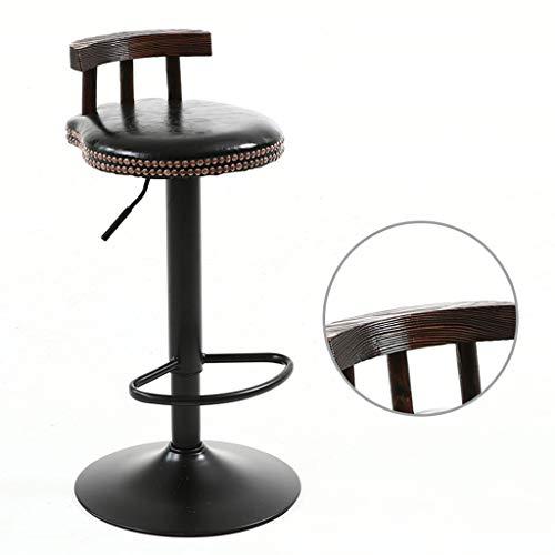 Tabourets De Bar Metal Industrial Style Cuisine Repas Rond Rétro Vintage, Chaise Réglable en Hauteur, 60~80Cm,Black