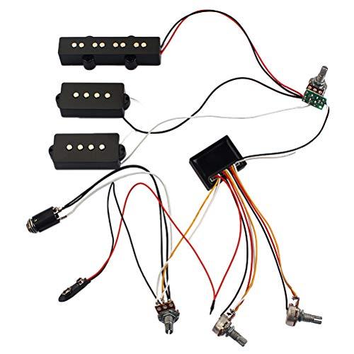 BESPORTBLE 3-Band-Equalizer-EQ-Preamp-Schaltung Bassgitarre Klangregelung Kabelbaum und JP-Pickup-Set für aktiven Bass-Pickup