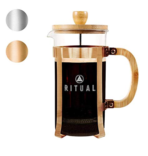 Ritual French Coffee Press (New 2019 Version), Bamboo Wood, Borosilicate Glass, and Copper Color Frame, Coffee Maker with Bonus Filter 36oz/1000ml