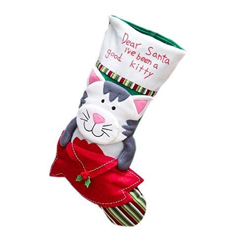 LULI Weihnachten Cartoon Socken Weihnachten Socken Kinder-Geschenk-Taschen Home Decoration (Size : Cat)